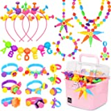 Victostar Pop Beads,DIY Jewelry Making Kit -Arts and Crafts Toys Gifts for Kids Age 3yr-8yr,550 PCS Pop Snap Beads Set Making Necklace, Bracelet, Hairband and Ring Creativity Toys for Girls Boys