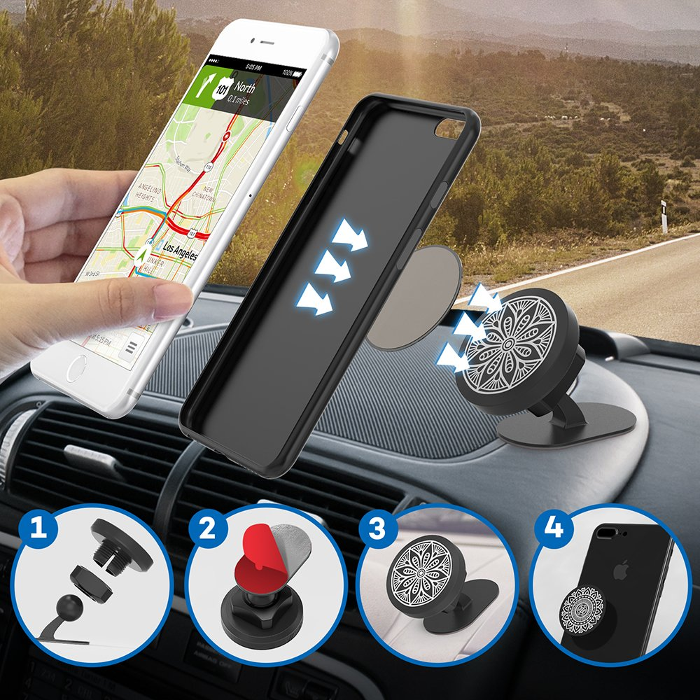 VAVA Magnetic Phone Holder for Car, Universal Stick On Dashboard Magnetic Car Phone Mount (360° Adjustable Holder with 3M Adhesive Covering and Two Metal Plates; Quick and Easy Installation) by VAVA (Image #6)