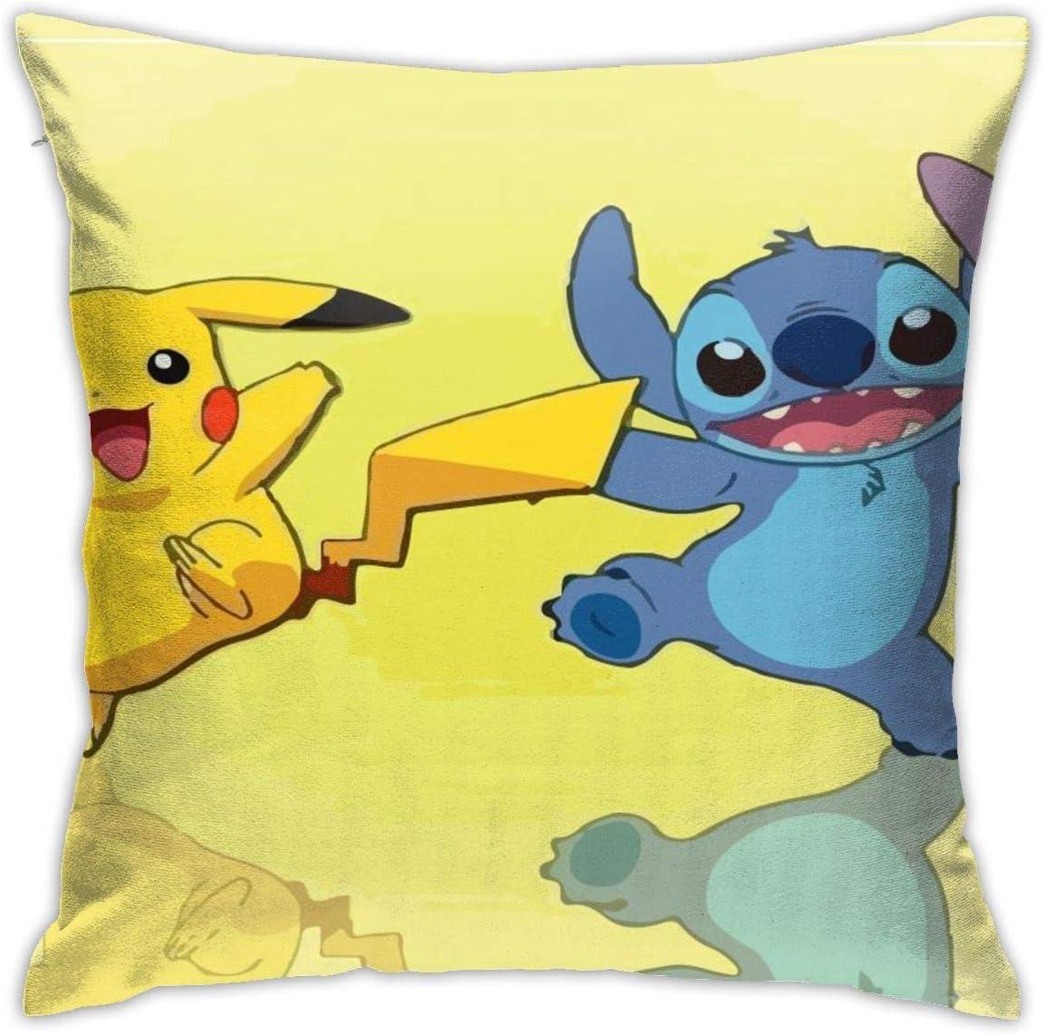 Boweike Pikachu Stitch Happy Throw Fundas de almohada 40 x 45 cm Forma cuadrada Funda de cojín decorativa para sofá