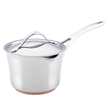 Anolon Nouvelle Copper Stainless Steel 3-1/2-Quart Covered Straining Saucepan