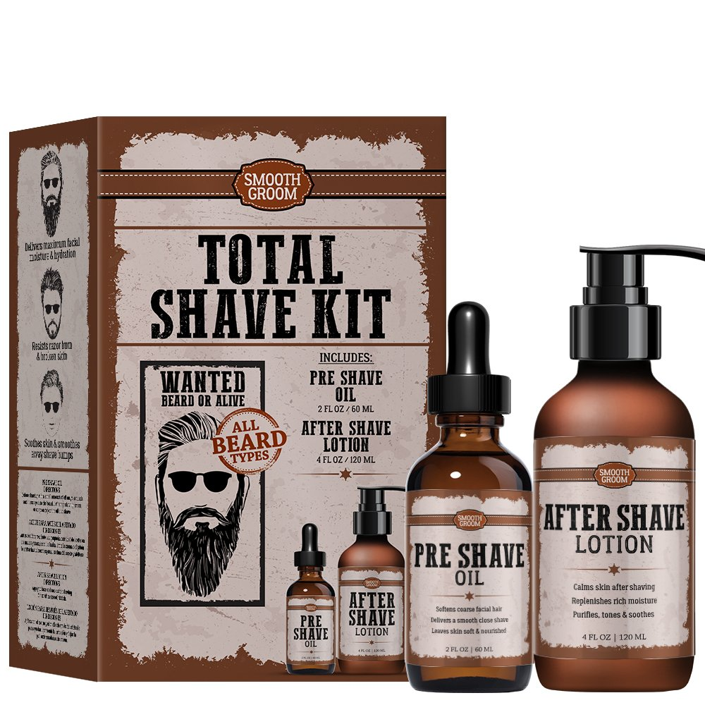 DELUXE Pre Shave Oil and After Shave Oil Smooth Groom Total Shave Kit for all beard types