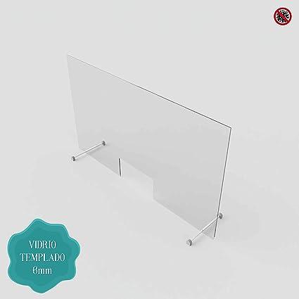 Pantalla de Protección - Mampara Sanitaria - Para Mostrador y Mesas oficina - Cristal templado de 6 mm. (100 x 80 cm) Posibilidad de Medidas Personalizadas Consultar.: Amazon.es: Oficina y papelería