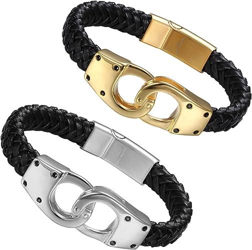 Edelstahl Handschellen Leder Armband Manschette Geflochten Magnet Verschluss