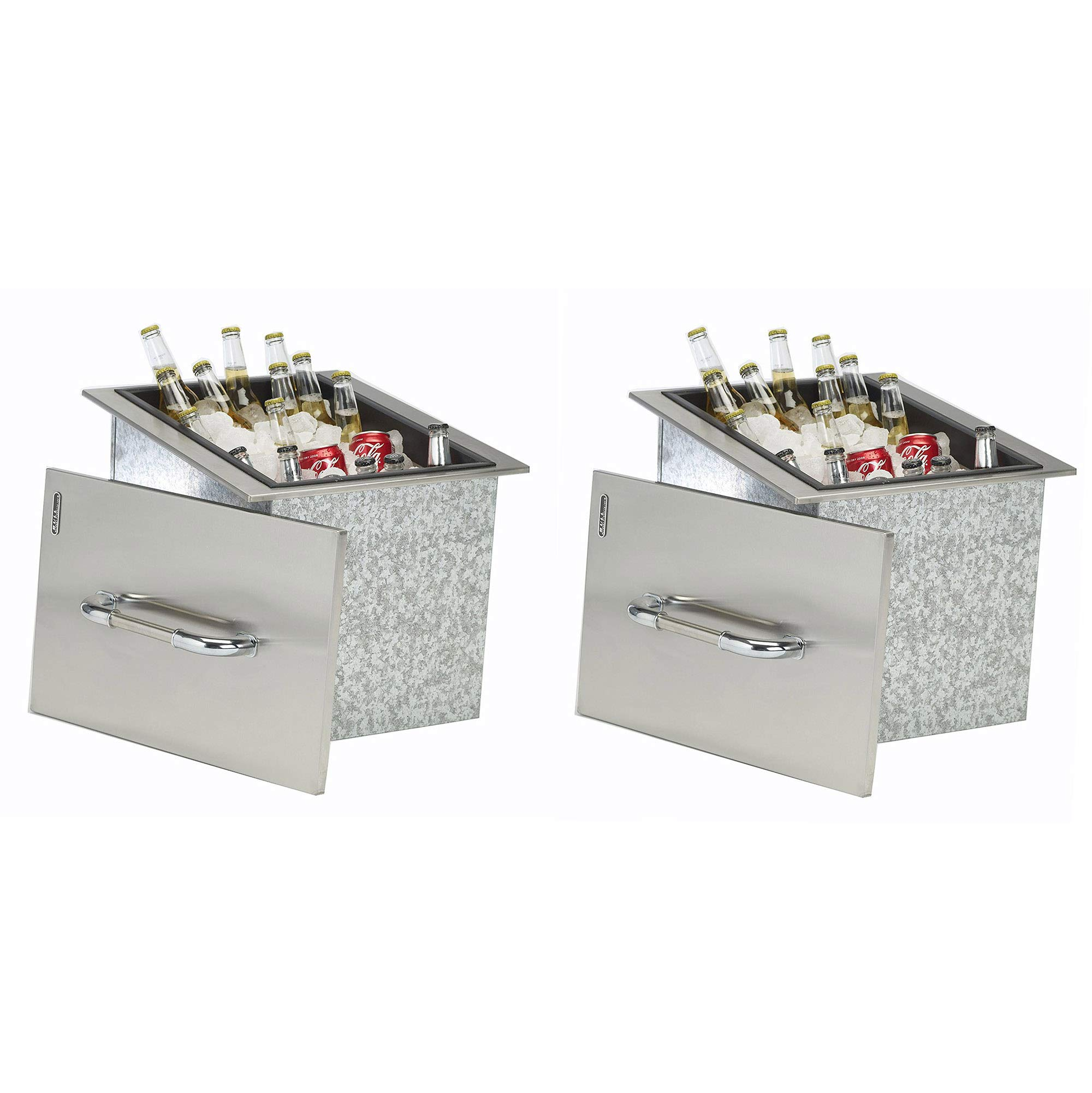 Bull Outdoor Products Stainless Steel Beverage Ice Chest Condiment Tray Cooler (2 Pack)