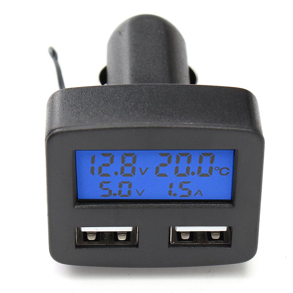GOZAR 12V 24V Universal Doble Interfaz USB Cargador De Coche Con Volt/ímetro Amper/ímetro Term/ómetro Pantalla LCD