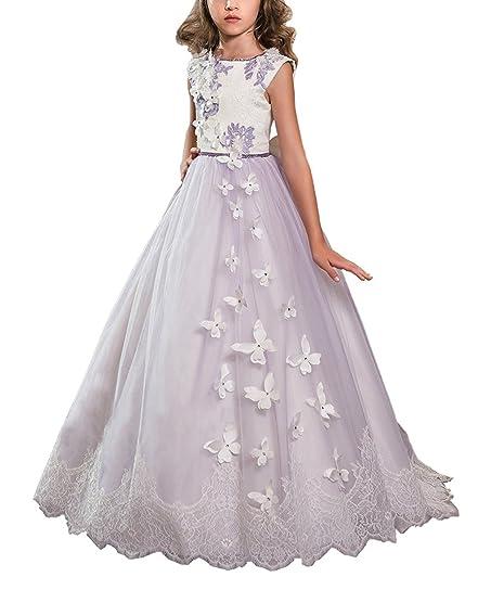 Amazon.com: KSDN Purple Long Butterfly Flower Girls Prom Dresses ...
