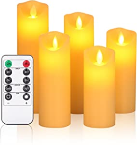 """OSHINE flameless Candles,Battery Candles,LED Candles 5""""6""""7""""8""""9""""H(2.2""""D) Moving Flickering Flame with Remote Control and Timer Wax Column 