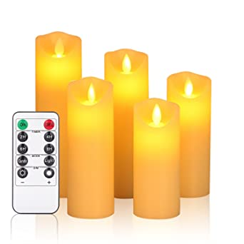 "Flameless Candles,Led Candles Set Of 5"" 6""7""8""9"" H(2.2"" D) Flickering Flame With Remote And Timer Real Wax Pillar 