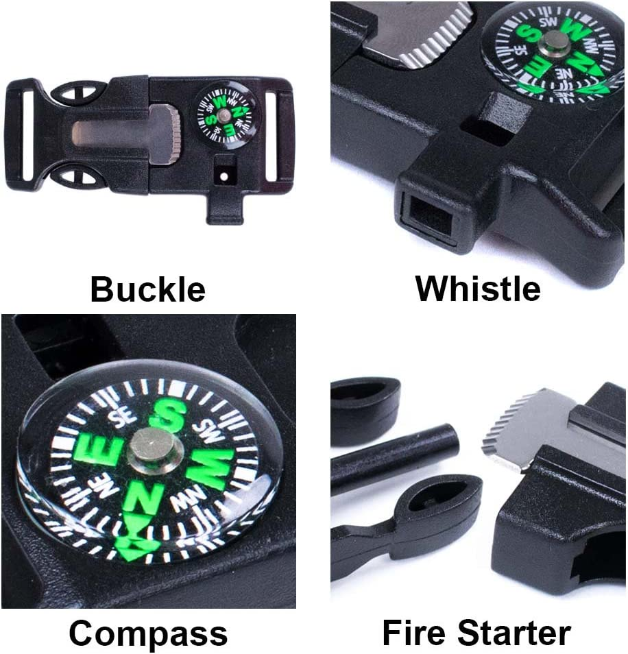 West Coast Paracord 2 Pack and 10 Pack Emergency Whistle Buckle with Flint Scraper Compass and Fire Starter for Outdoor Camping Hiking Paracord Bracelet