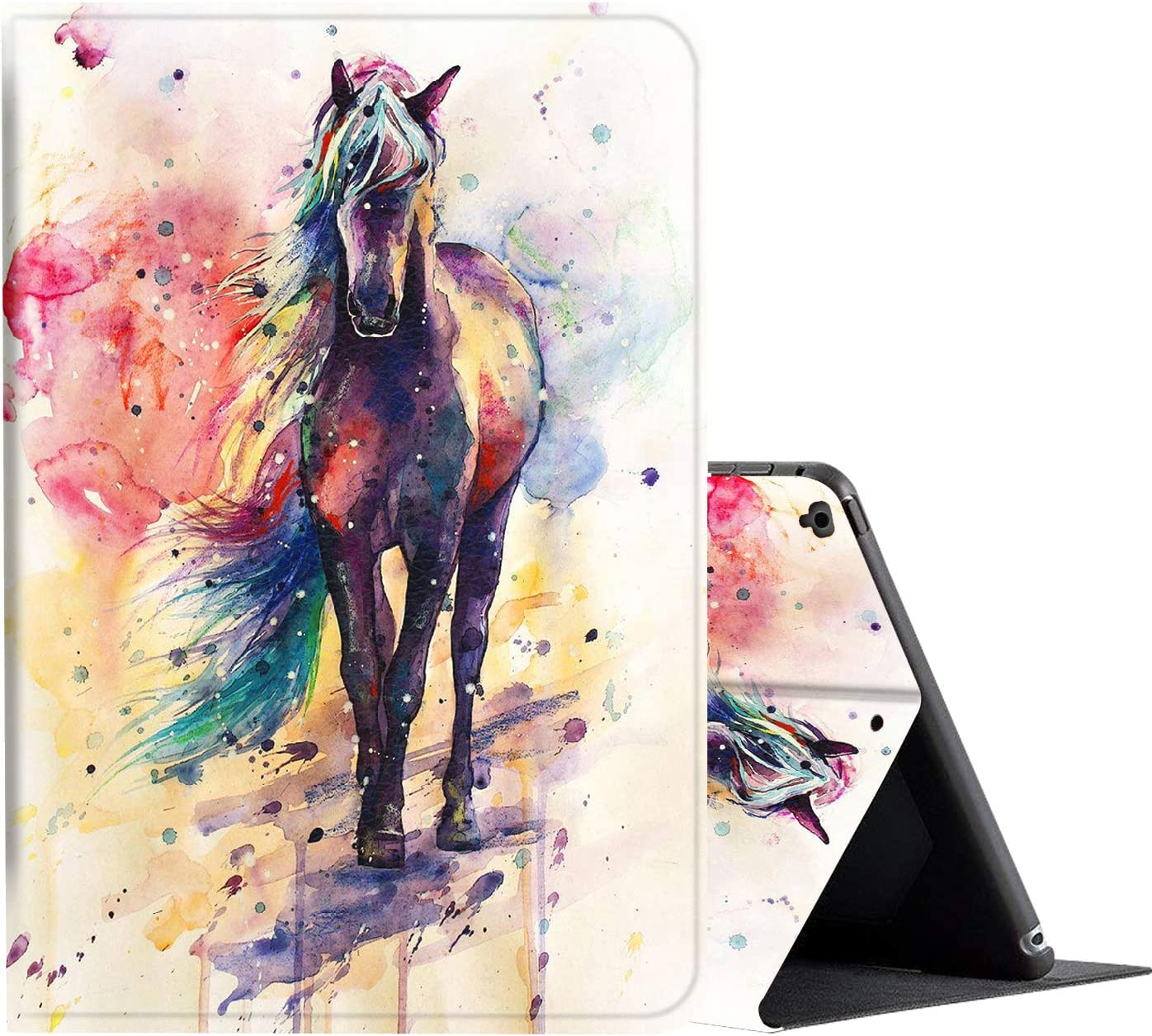 iPad 9.7 Case (2018/2017) 6th/5th Generation ipad Case,Amook Adjustable Non-Slip Folio Stand with Auto Wake/Sleep Smart Cover for Apple iPad 6/5 Gen & ipad air 1/2 9.7 inch-Watercolor Horse clolorful