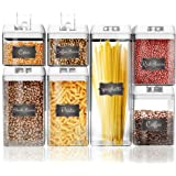 Shazo Airtight Container Set for Food Storage - 7 Piece Set + BONUS 18 Chalkboard Labels - Strong Heavy Duty Plastic - BPA Free - Airtight Storage Clear Plastic w/White Interchangeable Easy Lock Lids