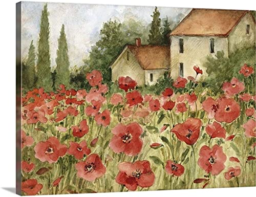 GREATBIGCANVAS Tuscan Poppy Landscape Canvas Wall Art Print