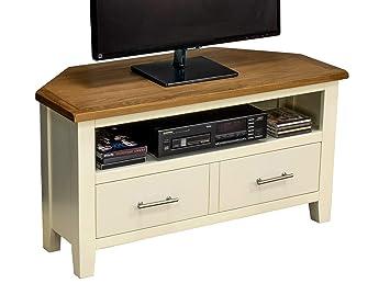 the latest 1e1be da85f Nebraska Painted Oak - Cream Corner TV Plasma DVD Video Unit Stand Cabinet  - Assembled