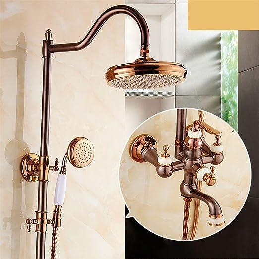 Robinet de lavabo de salle de bain en laiton massif et jade naturel Finition or chaud et froid