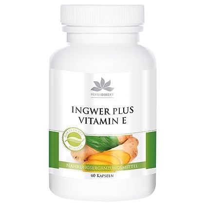 Jengibre+Vitamina E – Herbadirekt – Sustancia pura – 60 cápsulas