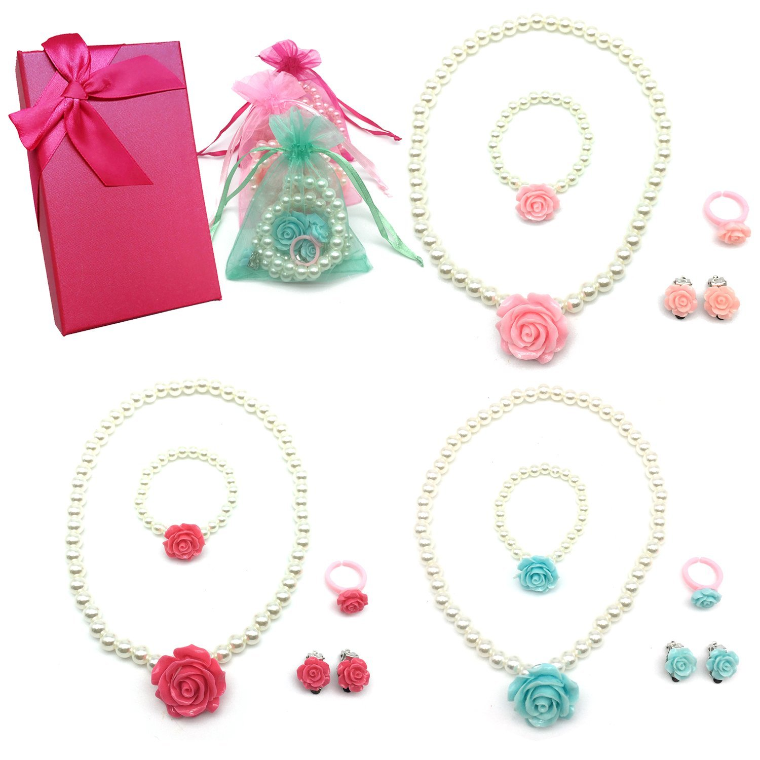 Elesa Miracle Girl Party Favor Pretend Play Princess Rose Pearl Jewelry Value Set-Necklace, Bracelet, Earrings, Ring, Pink, red,Green by Elesa Miracle