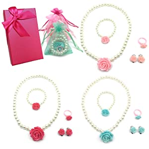 Elesa Miracle Girl Party Favor Pretend Play Princess Rose Pearl Jewelry Value Set-Necklace, Bracelet, Earrings, Ring, Pink, red,Green