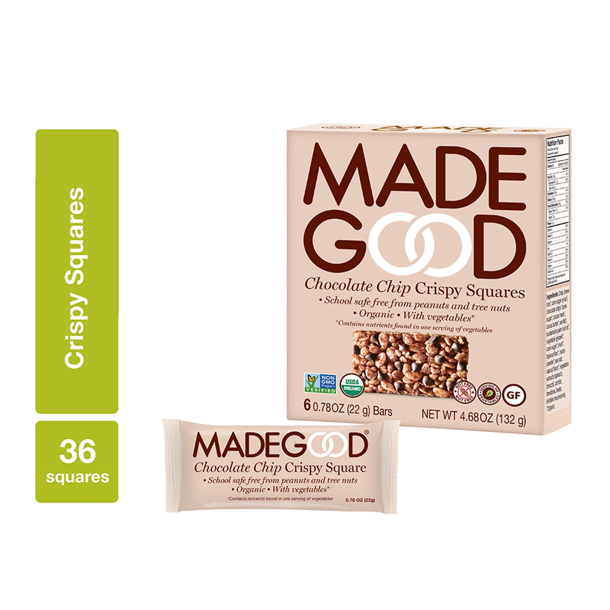 Made Good Chocolate Chip Crispy Squares, 22 gram, (Pack of 6)