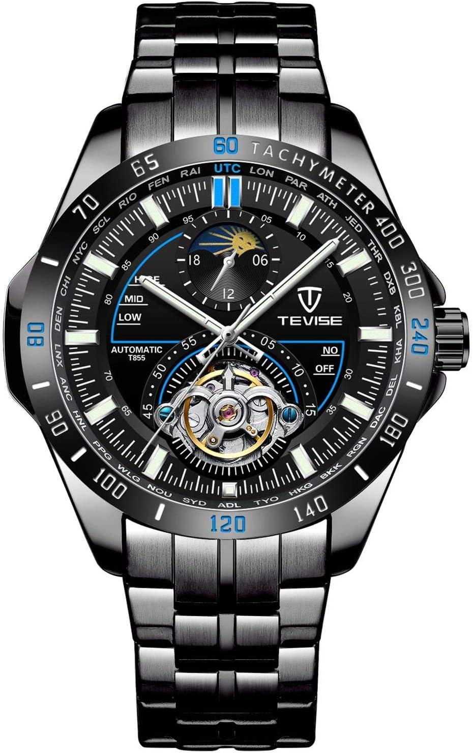 JTTM Relojes Hombre Moda Acero Inoxidable Impermeables Mecánico Automático Reloj Hombre Lujoso Comercio Calendario Militar Deportivo Relojes Tourbillon