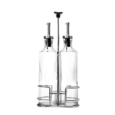 Glass Cruets/Oil & Vinegar Dispensers with Portable Caddy Stand - 3 Piece Set - 12 oz