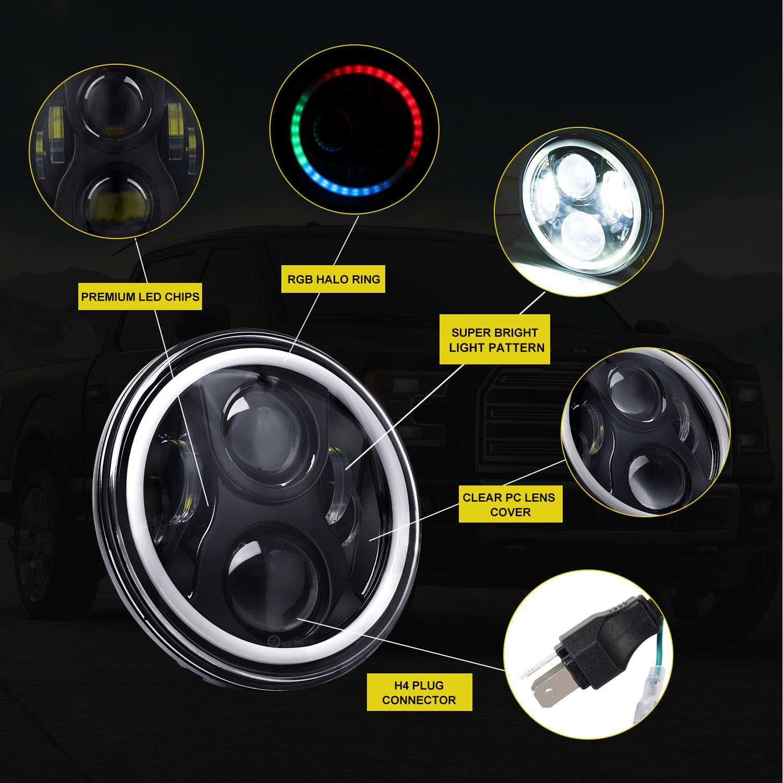LED Decoder Anti Flicker Harness LED Conversion Kit 2 PCS Error Free Wiring Harness Adapter for LED Headlight Jeep Wrangler Harley Davidson AAIWA H4 9003 Headlight Canbus