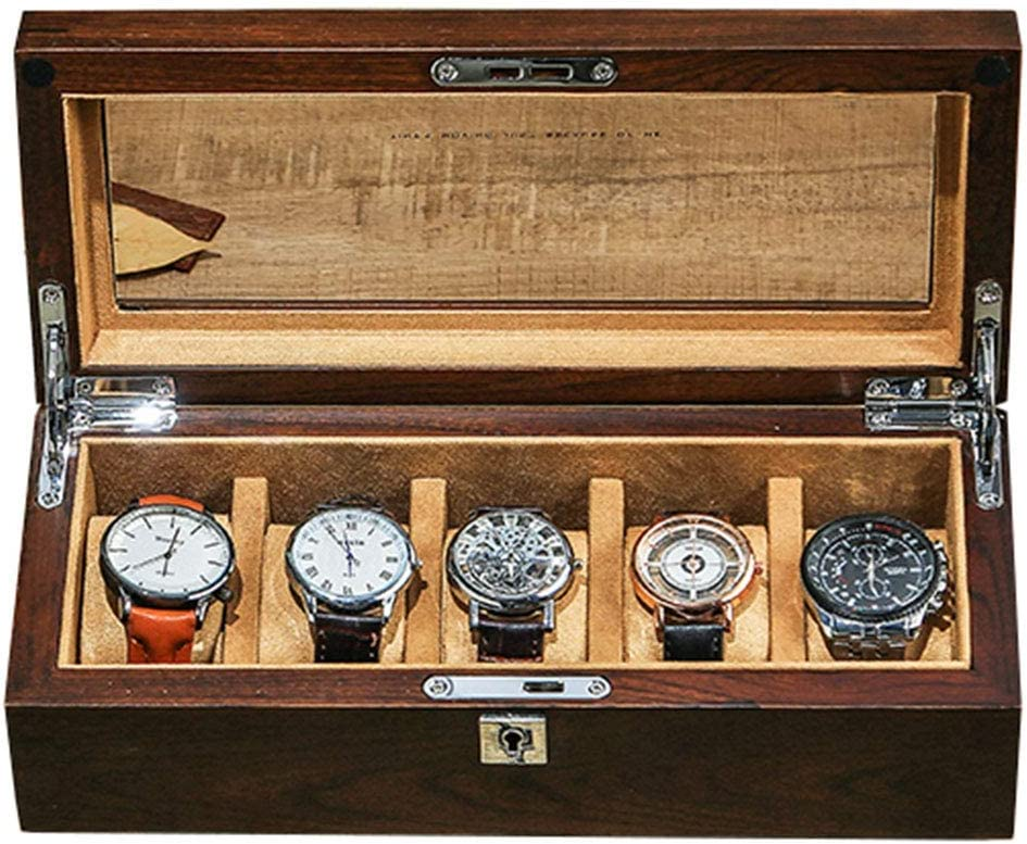 Caja de Reloj de Madera 5 Ranuras Reloj Pantalla Organizador de Almacenamiento Estuche de Vidrio con Cerradura de Metal, Adecuado para Almacenamiento de muñeca para Damas y Hombres