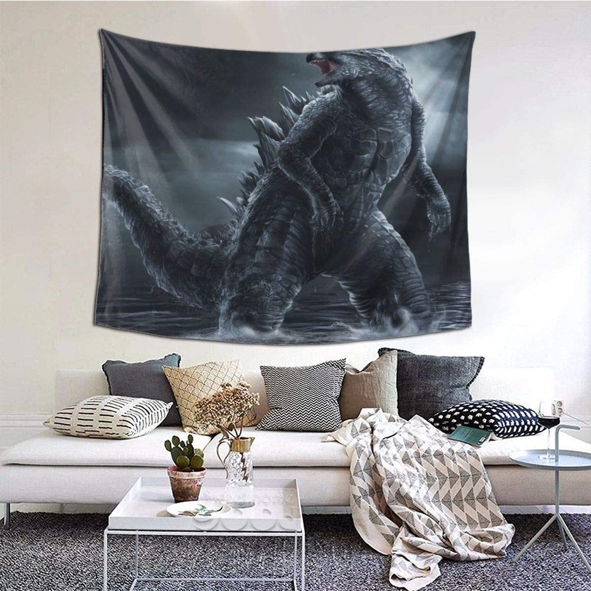 TRdY PAGE Godzilla Night Sea Prints Tapestries Artwork Wall Blanket Tapestry Wall Hanging Wall Art Poster for Dinning Room Party Modern Wall Decor 90x60in 229x152cm