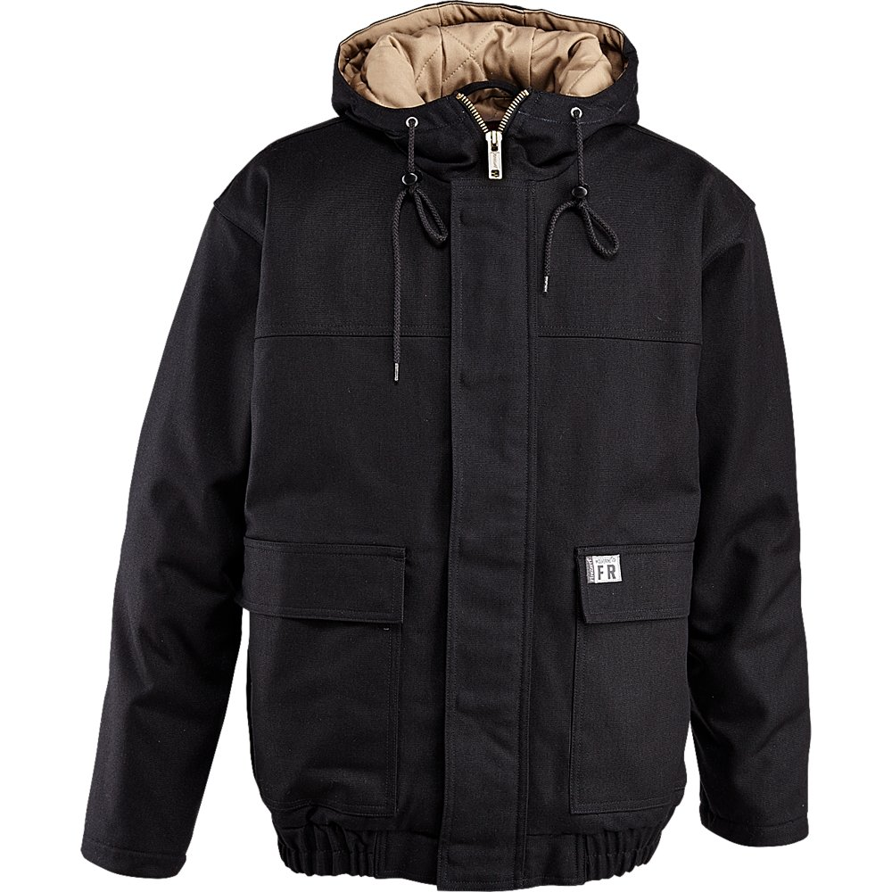 Wolverine Men's Flame Resistant Hooded Work Jacket, Black, Large
