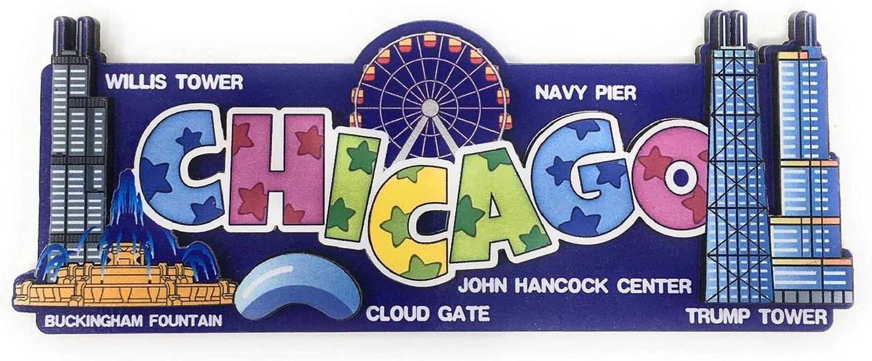 Chicago Souvenir Refrigerator Magnet Unique 3D Lightweight Particle Board