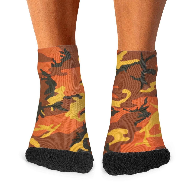 Floowyerion Mens Orange camo camouflage background Novelty Sports Socks Crazy Funny Crew Tube Socks