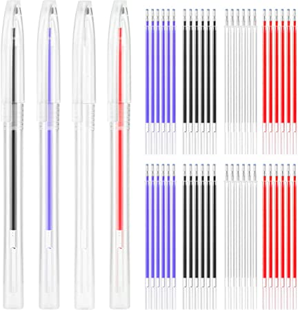 Quilting and Dressmaking 4 Colors 8 Pieces Heat Erase Pens with 40 Heat Erasable Fabric Refills Marking for Sewing