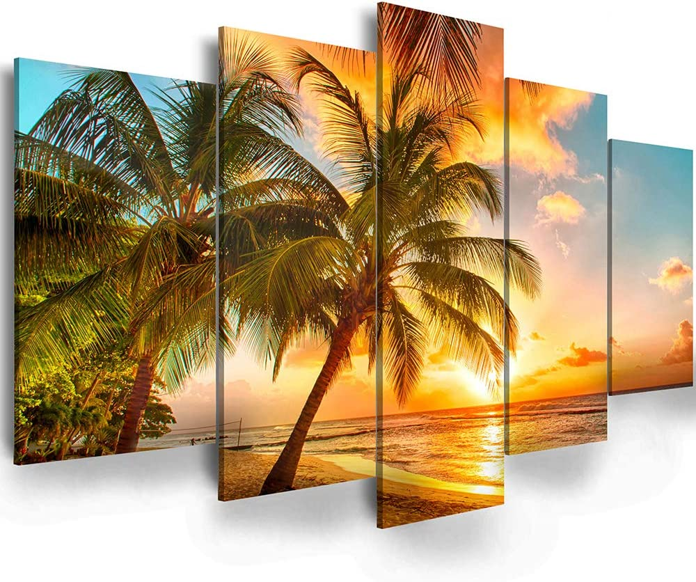 "Golden Seascape Ocean Beach Wall Art Cozy Sea Artwork Modern Ocean Sunset Sea Beach Canvas Prints Pictures Paintings on Canvas Wall Art for Home Decor 5 Panels Gallery Wrapped Tropical Scenery Seascape Artwork (D-5pcs,40""W x 20""H)"