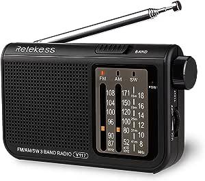 Retekess V-117 Portable AM FM Radio with Shortwave Battery Powered Transistor 3.5mm Headphone Jack Speaker Small Compact Pocket Radios(Black)