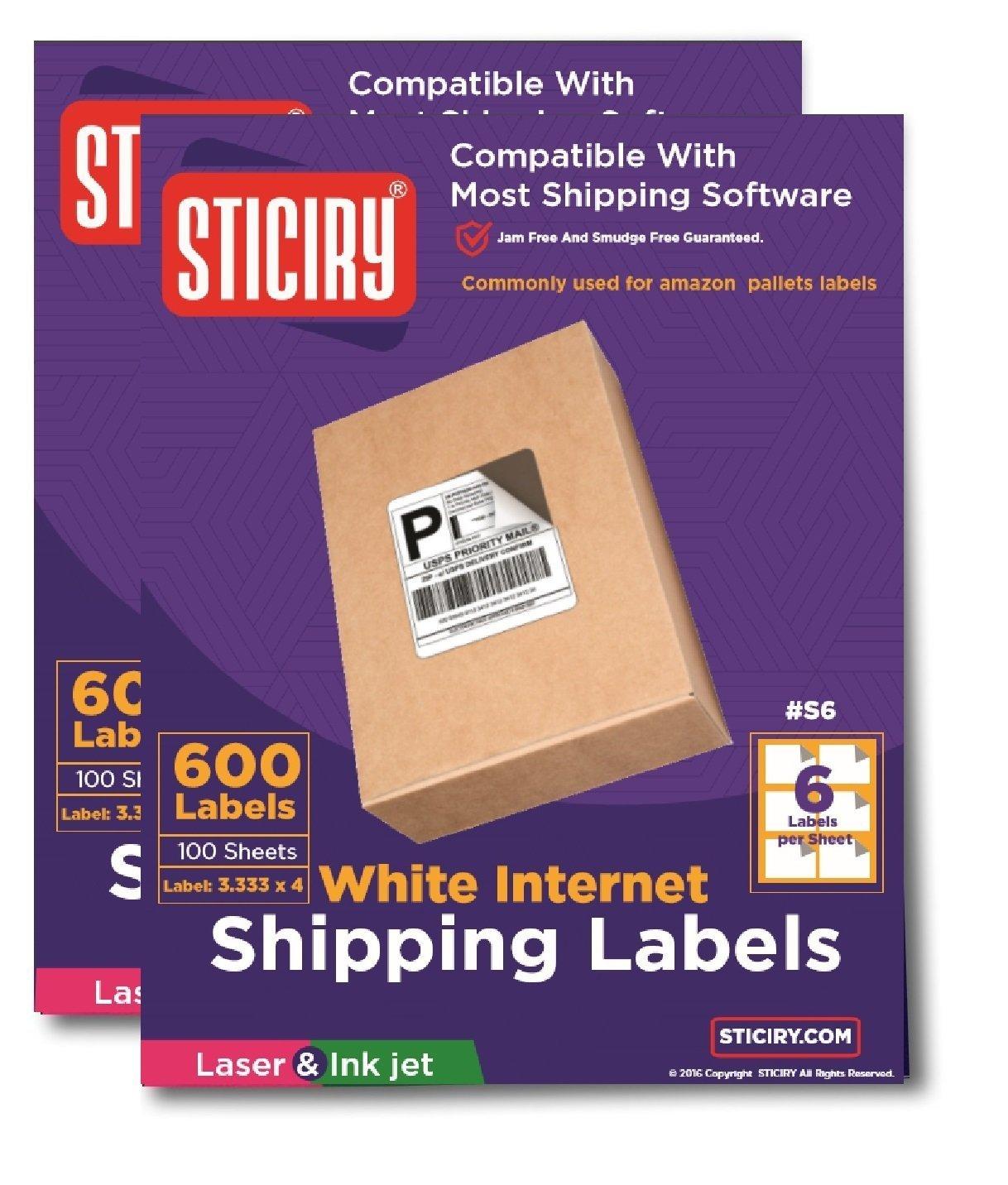 "6000 Laser //Ink Jet Labels 4/"" x 3 1//3/"" Fits FBA Size Template 1000 sheets 6,000"