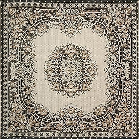 Mad Mats Versailles Indoor Outdoor Floor Mat 6 By 6 Feet Black And Tan