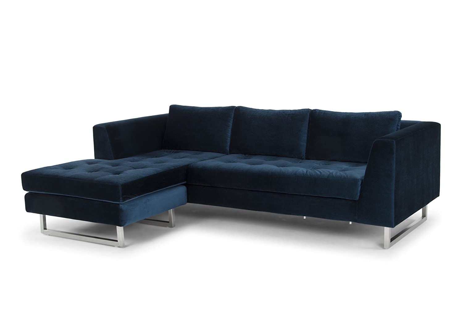 Amazon com nuevo living matthew sectional sofa in midnight blue velour and brushed stainless steel kitchen dining