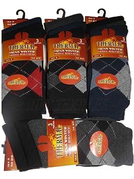 Argyle - 12 pares de calcetines térmicos de hombre, tejido grueso cálido para botas de trabajo: Amazon.es: Hogar