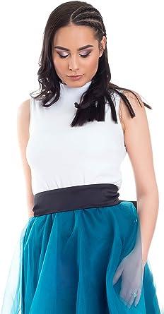 Evoni - Camiseta sin mangas con cuello medio para mujer, de un solo color, con cuello alto, tallas de algodón, elastano: Amazon.es: Ropa y accesorios