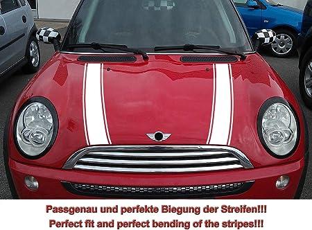 Streifen Stripes Aufkleber Motorhaube Für R50 R52 Mini Cooper Weiss Design 2 Auto