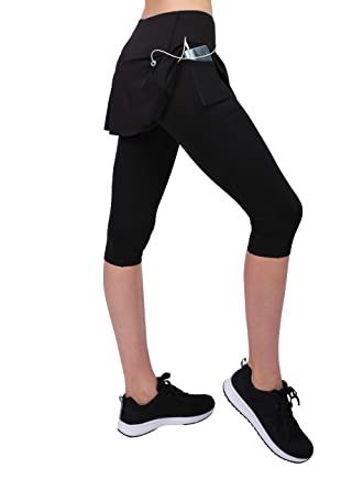 Honofash Falda Pantalón Tenis Mujer Deporte Running Ropa Padel Leggins Deportivas S M L XL Golf(Negro