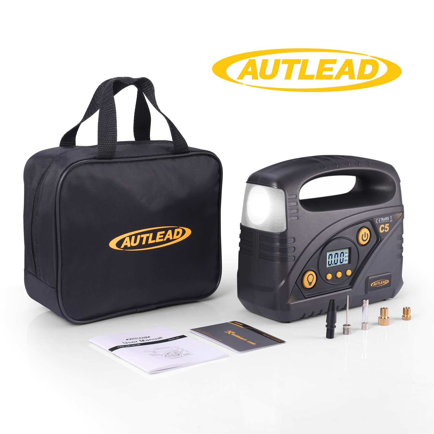 AUTLEAD C5 Digital Tire Inflator, 40L/min Portable Air Compressor Pump, 12V DC Auto Tire Pump with Pressure Gauge, LED Light, 4 Adaptors for Car, Bicycle, Motorbike and Others by AUTLEAD (Image #9)