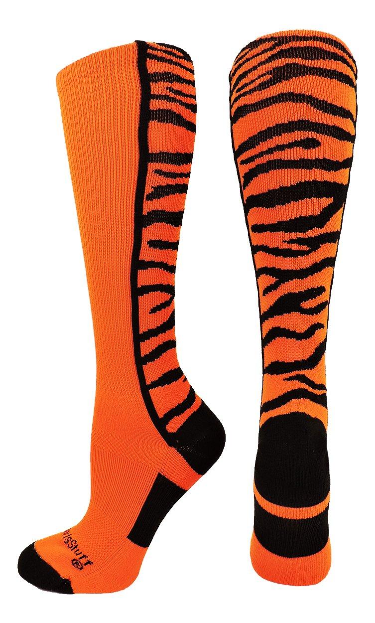 CrazyサファリTiger Stripe Over The Calfアスレチックソックス複数色 B075TYFZXW Large|オレンジ/ブラック オレンジ/ブラック Large
