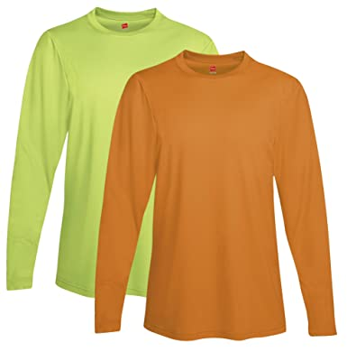 ba0b5659 Image Unavailable. Image not available for. Color: Hanes mens Cool DRI  Performance Long-Sleeve T-Shirt(482L)-Safety