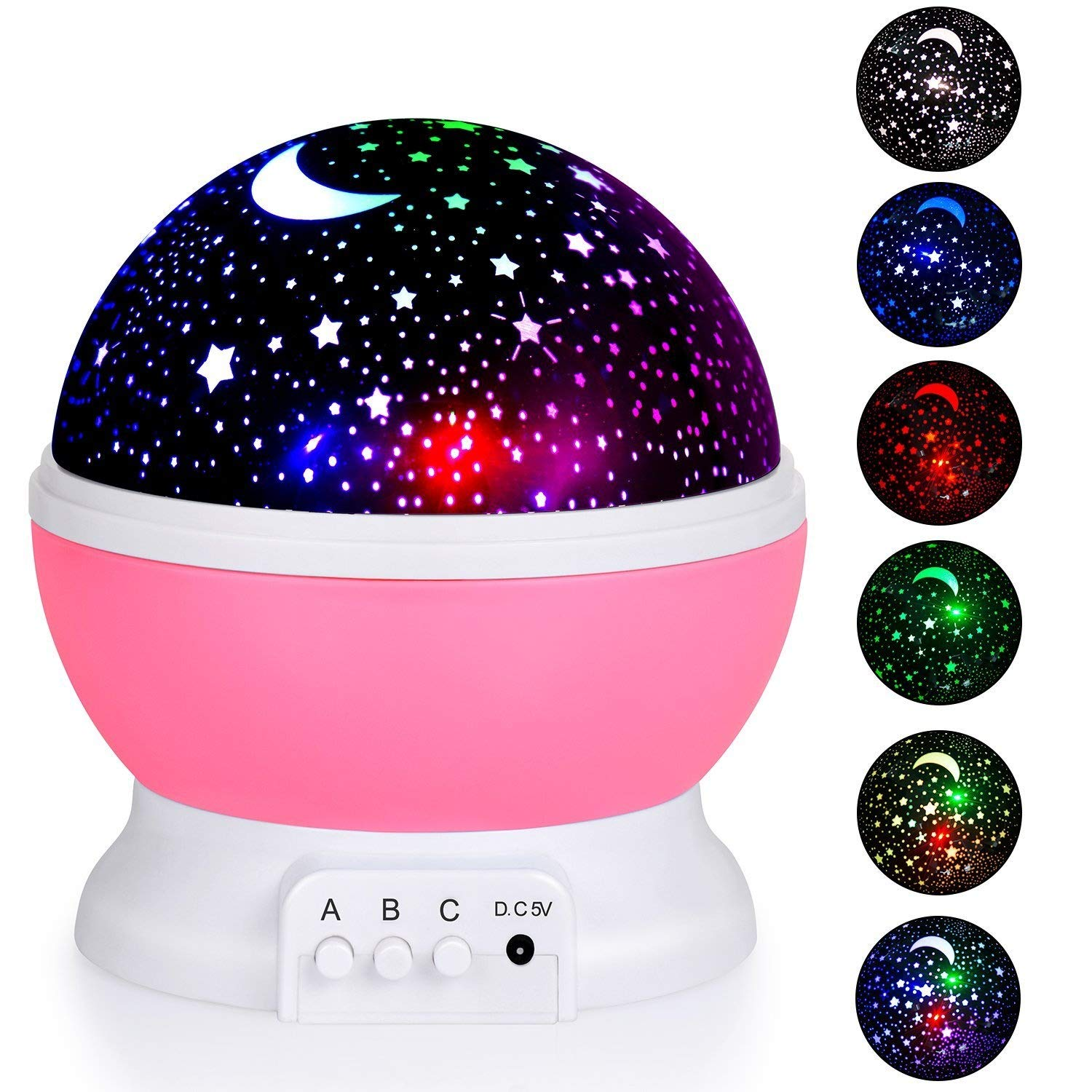 Stripsun Star Night Light Projector, Baby Night Lights with 8 Colors & 4 LED Heads, 360 Degree Rotating Star Projector for Kids, Children Bedroom