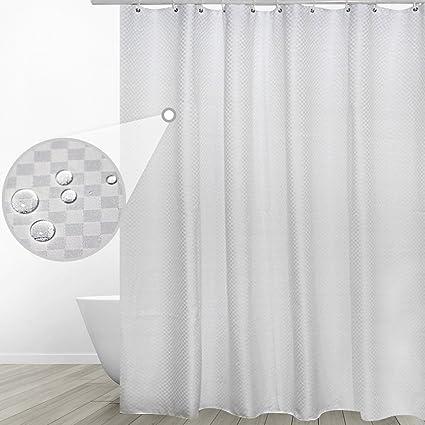 Eforgift Thickened Fabric Shower CurtainHeavy Weight Waterproof Bathroom Curtain Classic White Checks