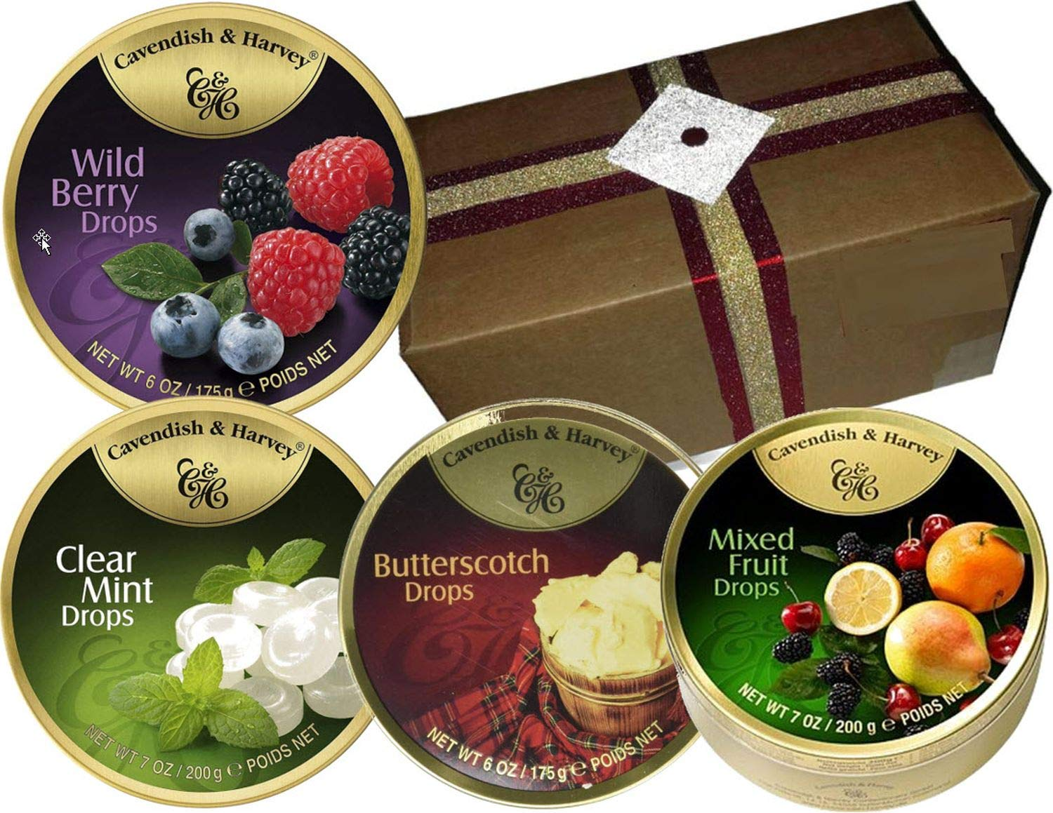 CDM product Festive Cavendish and Harvey European Candy Tins Assortment in a Specially Designed Gift Box (Mixed Fruit-Butterscotch-Clear Mint-Wild Berries, 4 Tins) big image