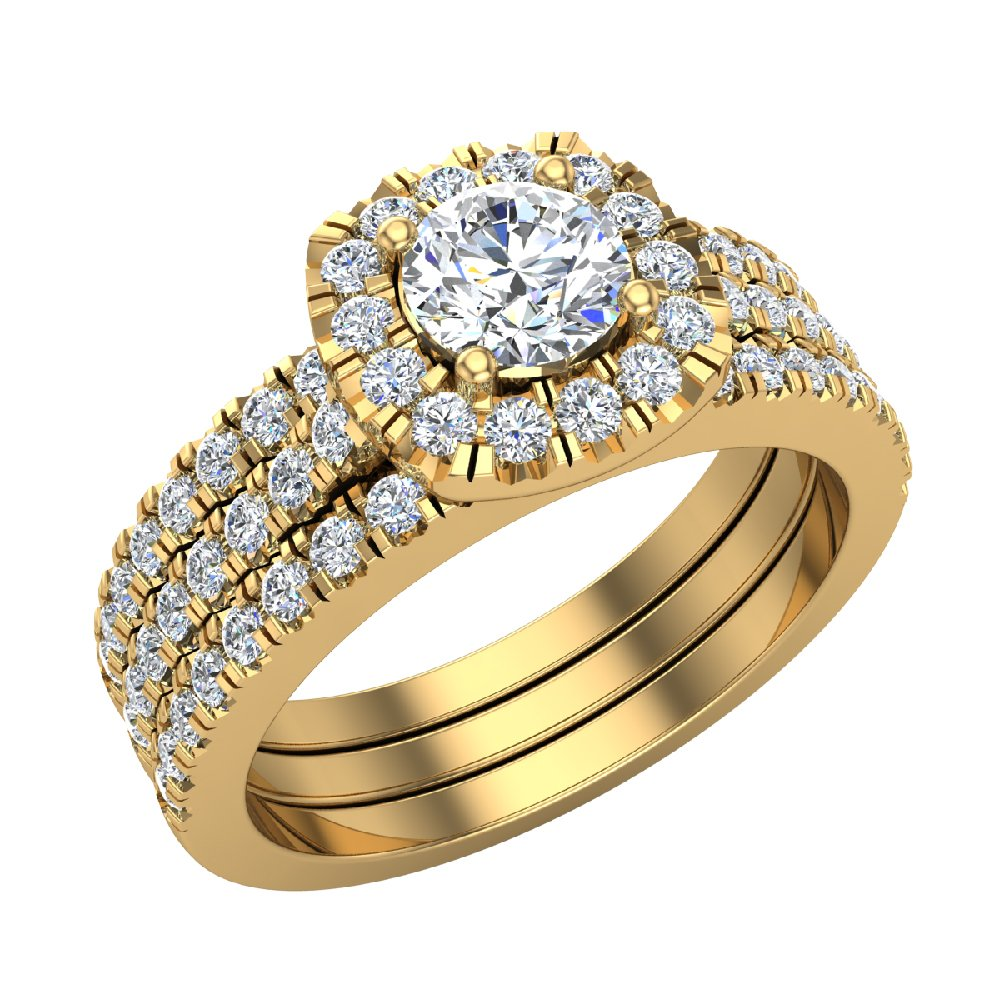 Round Cut Cushion Halo Ring Set w/ Enhancer Bands 1.33 Carat Total Weight in 14K Yellow Gold (Ring Size 4)