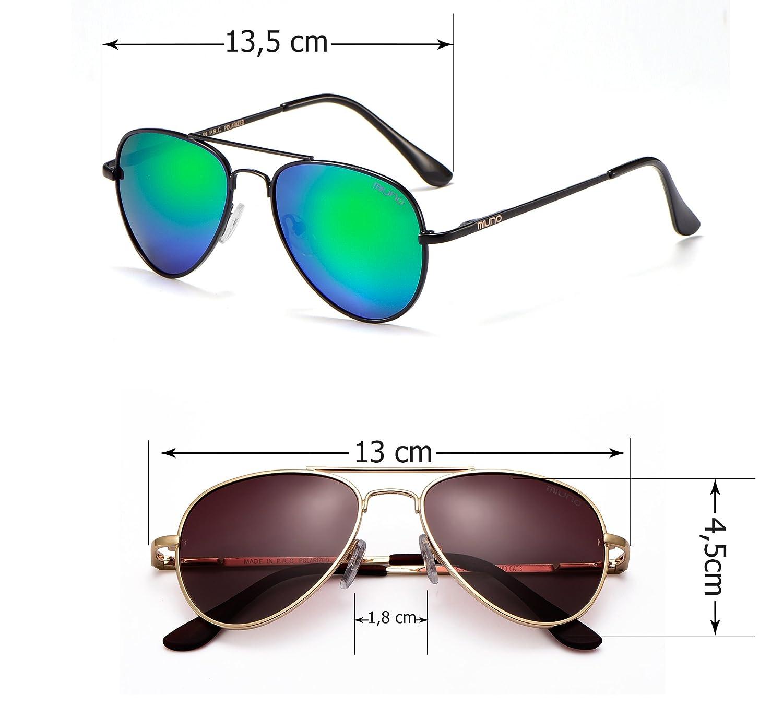 Kinder Polarisiert Sonnenbrille verspiegelt Polarized Aviator für Jungen und Mädchen Etui 3025k (Rotgoldverspiegelt/Gold) jiZA93