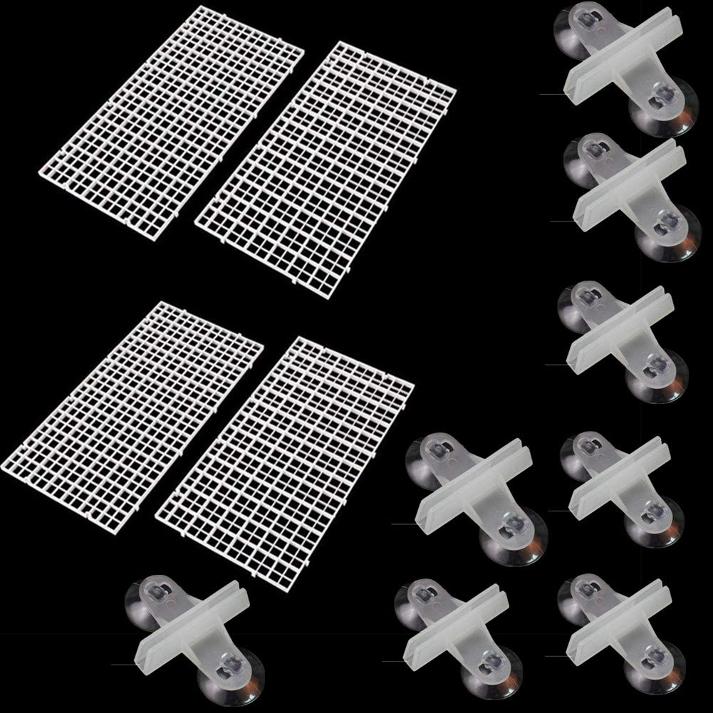Fully 4 Pcs Grid Divider Tray Egg Crate Louvre Aquarium Fish Tank Bottom Isolation BOAD + 8 Pcs Sucker Clip by (15x30cm/5.9x11.8, White) by Fully