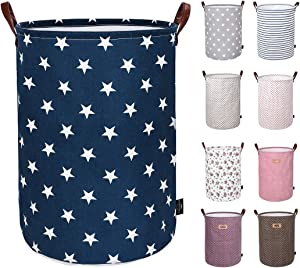 DOKEHOM 19-Inches Thickened Large Drawstring Laundry Basket Storage -(Available 19 and 22 Inches in 9 Colors)- with Durable Leather Handle, Cotton (Blue Star, L)
